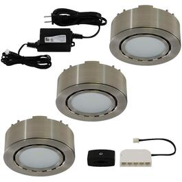 Matte Nickel 3 Light Mini Puck LED Light Fixture thumb