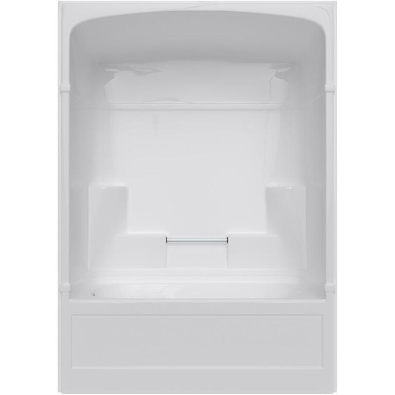3 Piece White Acrylic Left Hand Tub and Shower, with Lumbar - Home ...