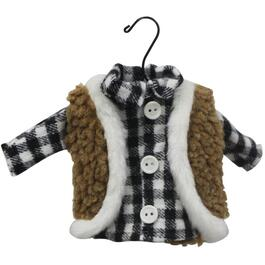 "5"" Black and White Plaid Sweater/Coat Ornament thumb"