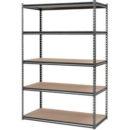 "24"" x 48"" x 72"" 5 Shelf Black Metal/Wood Shelving Unit thumb"