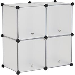 4 Cube Grey Storage Organizer, with Doors thumb