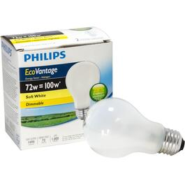 2 Pack 72W A19 Medium Base Soft White Dimmable Halogen Light Bulbs thumb