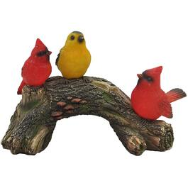 Solar Birds on a Log Garden Statue thumb