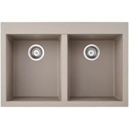 "20-7/8"" x 31-1/2"" Dove Grey Drop-In Double Granitek Kitchen Sink with Squared Corners thumb"