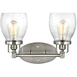 Belton 2 Light Brushed Nickel Vanity Light Fixture, with Seeded Glass thumb