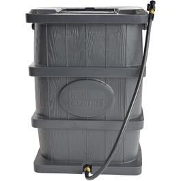 45Gal Charcoal Grey Wood Grain Flat Back Rain Barrel thumb