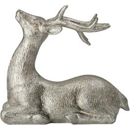 "6"" Silver Resin Laying Deer Figure thumb"