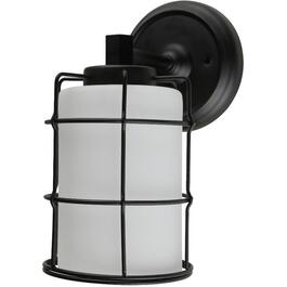 Albany 1 Light Black Wall Light Fixture with White Glass Shade thumb