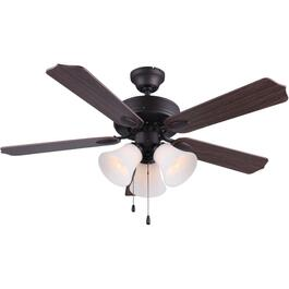 "Rue 42"" 5 Blade Dual Mount Rubbed Antique Bronze Ceiling Fan with Light and Reversible Blades thumb"