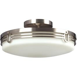 2 Light Brushed Nickel Semi Flush Aurora Fixture with White Glass thumb