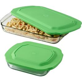 4 Piece Glass Baking Dish Set, with Lids thumb