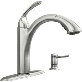 Kinzel 1,2,3 or 4 Hole Stainless Steel Pull Out Spot Resist Faucet Deck with Soap Dispenser thumb