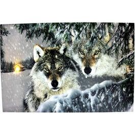 "23"" x 16"" Canvas Wolf Wall Art, with Fibre Optic Lights thumb"