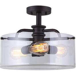 Albany 3 Light Oil Rubbed Bronze Semi-Flush Light Fixture thumb