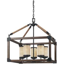 Dunning 5 Light Starbdust Chandelier Light Fixture with Creme Parchment Glass thumb