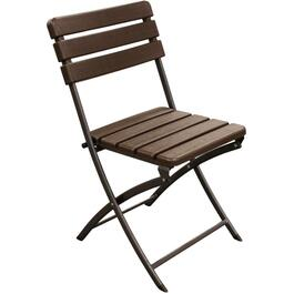 Brown Resin Wood Look Folding Chair thumb