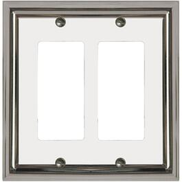 Estate Chrome with White Center Double Rocker Metal Switch Plate thumb