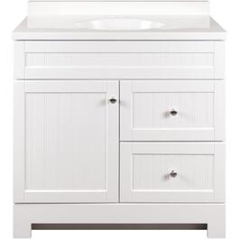 "36"" x 18"" 1 Door 2 Drawer White Edgewater Vanity, with Top thumb"