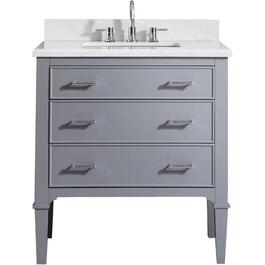 "Kristal 31"" x 22"" 2 Drawer + 1 Tilt Drawer Grey Vanity with White Carrera Top thumb"