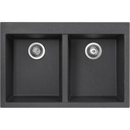 "20-7/8"" x 31-1/2"" Black Drop-In Double Granitek Kitchen Sink with Squared Corners thumb"