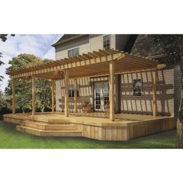 34' x 15' 5/4x4 Pressure Treated 2 Tier Deck Package, with Pergola thumb