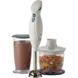 250 Watt 2 Speed White Handheld Blender, with Food Pro Attachment thumb
