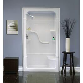 "3 Piece 48"" Left Hand White Acrylic Shower Cabinet thumb"