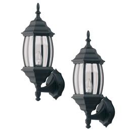2 Pack Outdoor  Down or Upward Coach Black Light Fixtures with Clear Bevelled Glass thumb
