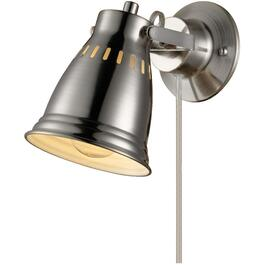 Cuvillier 1 Light Brushed Steel Plug-in or Hardwired Wall Sconce thumb