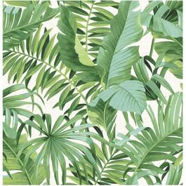 "20.5"" x 18' Maui Palm Green and White Peel and Stick Wallpaper thumb"
