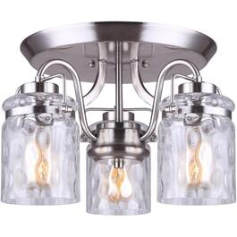 Arden 3 Light Brushed Nickel Semi-Flush Light Fixture, with Watermark Glass Shades thumb