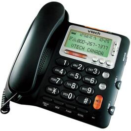 Black Corded Desktop Phone, with Big#'s and Caller Identification thumb