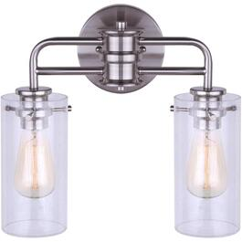 Albany 2 Light Brushed Nickel Vanity Light Fixture, with Seeded Glass Shade thumb