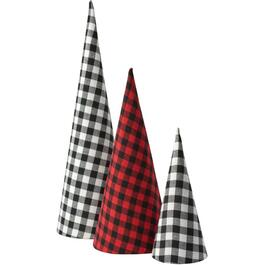 "3 Pack of 24"" Plaid Cone Table Top Tree Set thumb"