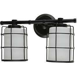Albany 2 Light Black Vanity Light Fixture with White Glass Shades thumb