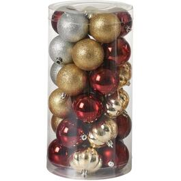 30 Pack Wine/Gold/Red Plastic Ornaments thumb