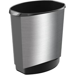 14L Vanity Black/Stainless Steel Wastebasket thumb