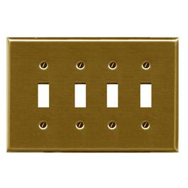 Polished Brass 4 Toggle Switch Plate thumb