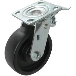 "6"" Rubber Swivel Plate Caster, with Back Brake thumb"