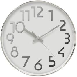 "12"" 3D Polished Chrome Round Wall Clock thumb"