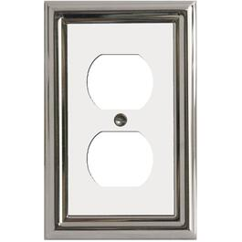 Estate Chrome with White Center Duplex Metal Receptacle Plate thumb
