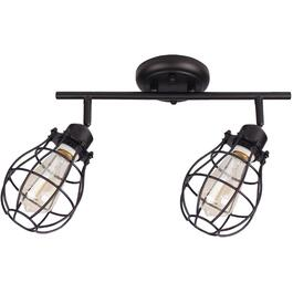Lancy 2 Light Matte Black Caged Shade Track Light Fixture thumb