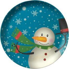 "7"" Round Melamine Christmas Appetizer Plate, Assorted Designs thumb"