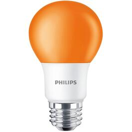 8W A19 Medium Base Non-Dimmable Orange LED Light Bulb thumb