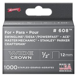 "1000 Pack 1/2"" Wide-Crown Staples, for #800X Stapler thumb"