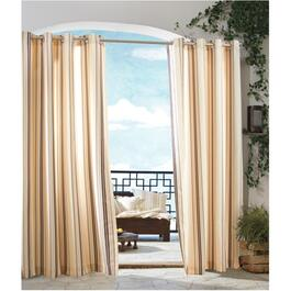 "50"" x 96"" Black and Khaki Stripe Grommet Outdoor Curtain thumb"