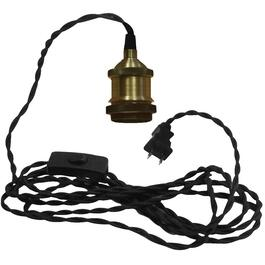 15' Antique Brass Socket with Black Fabric Cord Plug-in Pendant Light Kit thumb