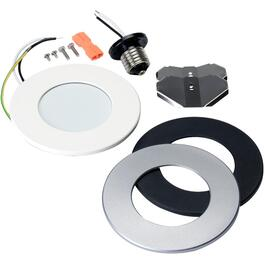 "4"" Slim 8W 4000K Dimmable Recessed LED Light Fixture, with 3 Face Plates (White, Black, Silver) thumb"