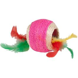 Kylies Brights Jute Ball with Feather Cat Toy, Assorted Colours thumb