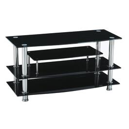 "41"" x 17"" x 21"" Black Glass and Chrome TV Stand thumb"